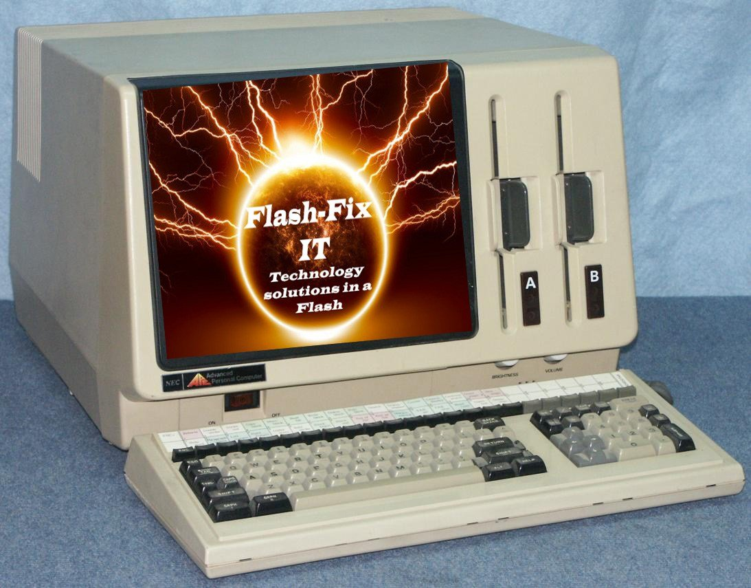 Flash-Fix IT logo with old computer